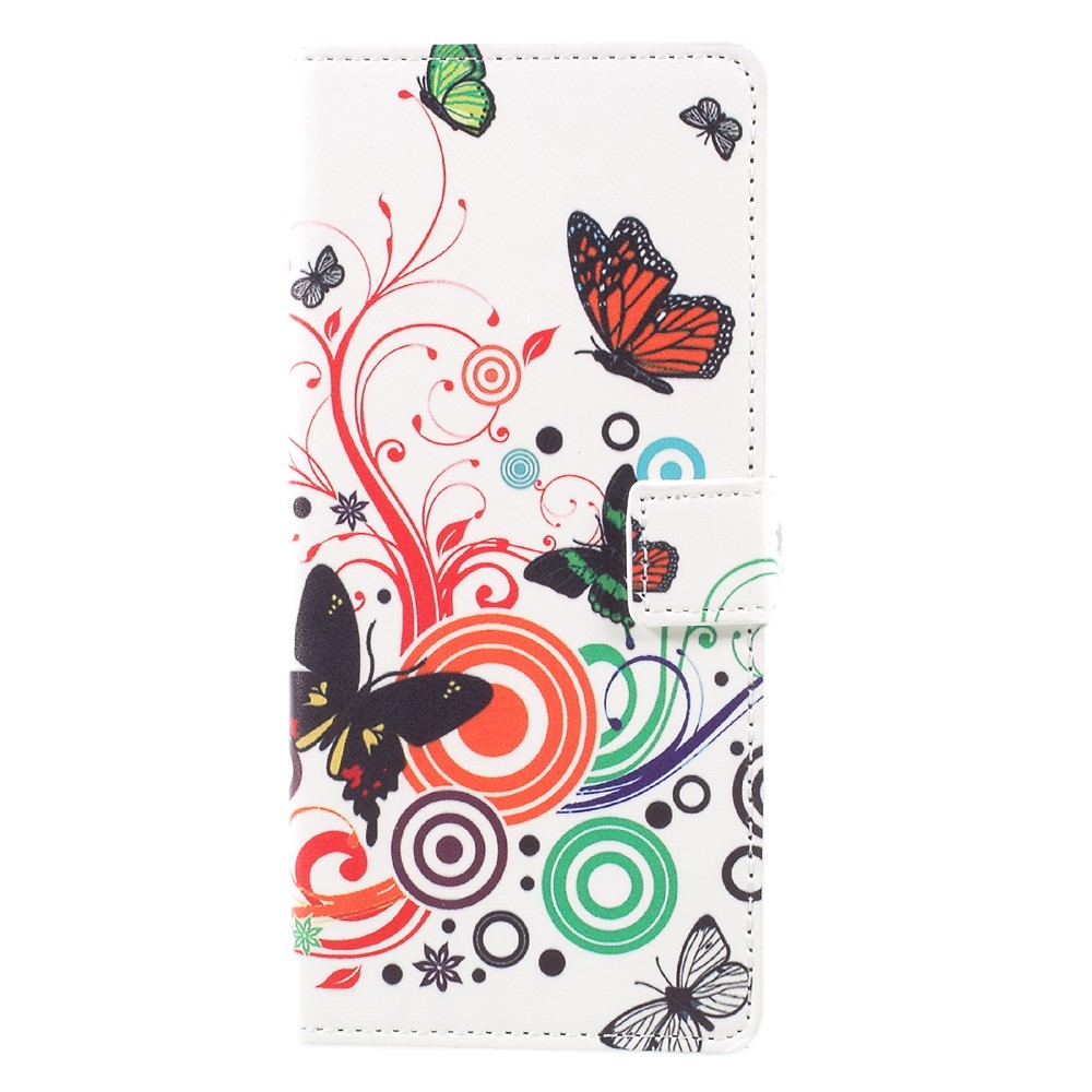 Image of   Samsung Galaxy Note 8 PU læder Flipcover m. Kortholder - Butterfly and Circle