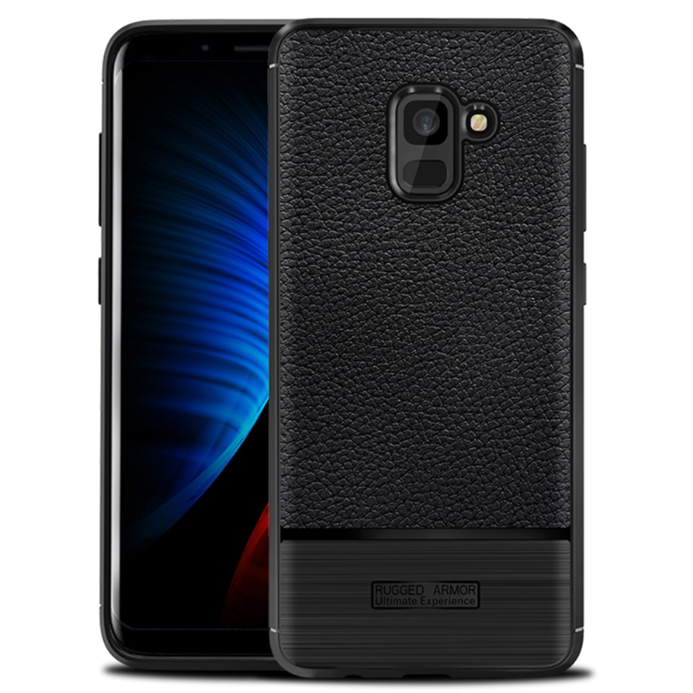 Image of Samsung Galaxy A8 (2018) Cover med Læderbagside - Sort