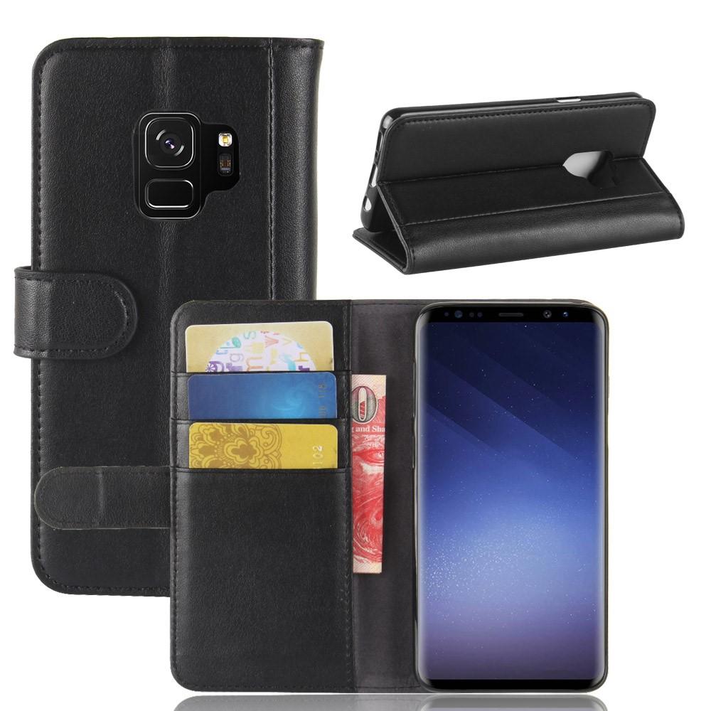 Billede af Samsung Galaxy S9 Flipcover i Ægte Læder m. Kortholder - Sort
