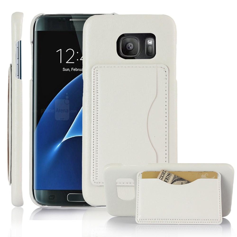 Billede af Samsung Galaxy S7 Edge Læder Bagcover m. Stand - Hvid