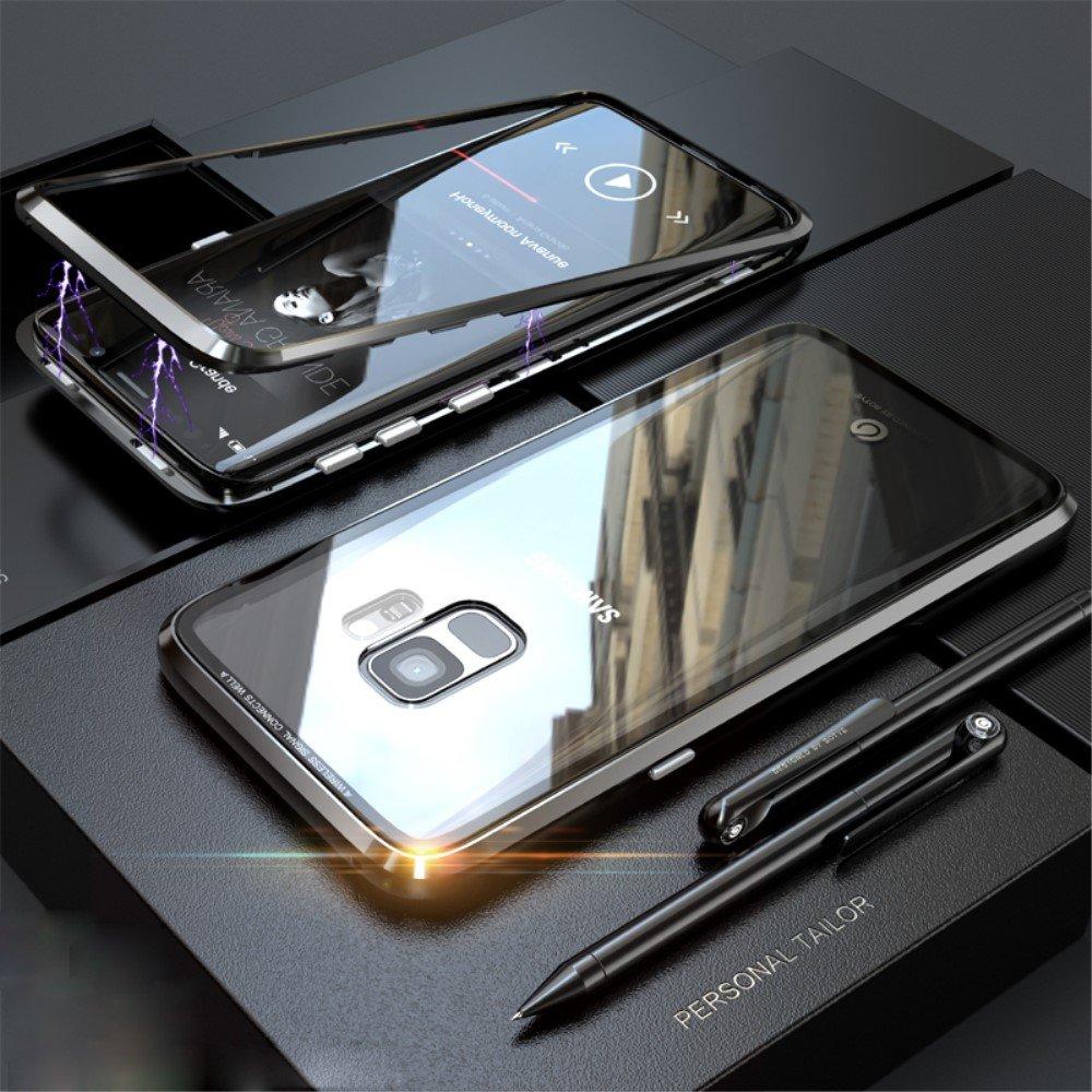 Image of   Samsung Galaxy S9 Magnetisk Metalramme m. Glas Bagside - Sort
