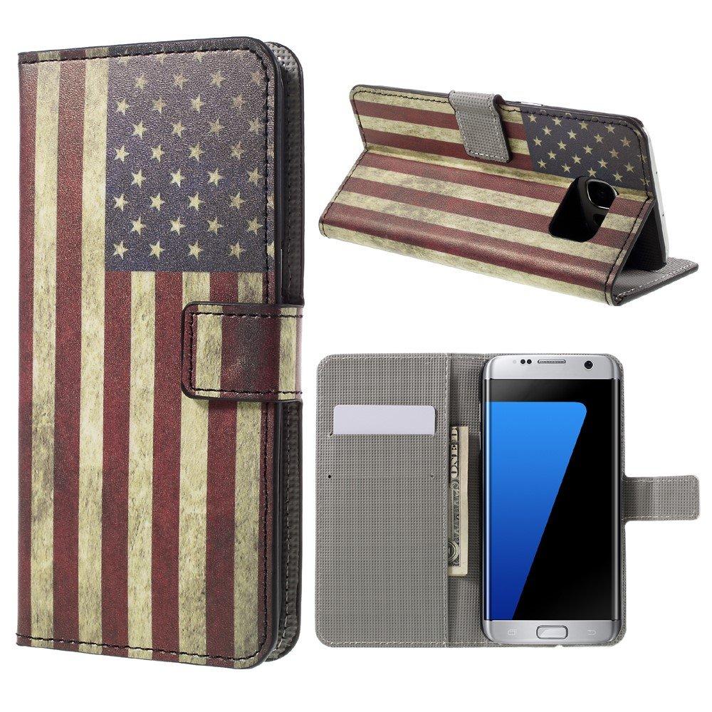 Billede af Samsung Galaxy S7 Edge PU læder FlipCover m. Kortholder - US Flag