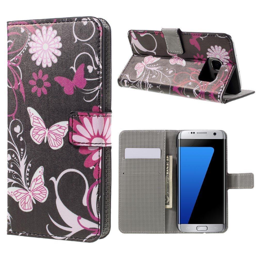 Billede af Samsung Galaxy S7 Edge PU læder FlipCover m. Kortholder - Butterfly Flowers
