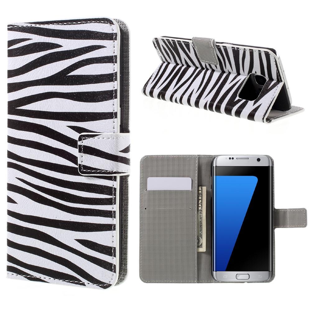 Billede af Samsung Galaxy S7 Edge PU læder FlipCover m. Kortholder - Zebra