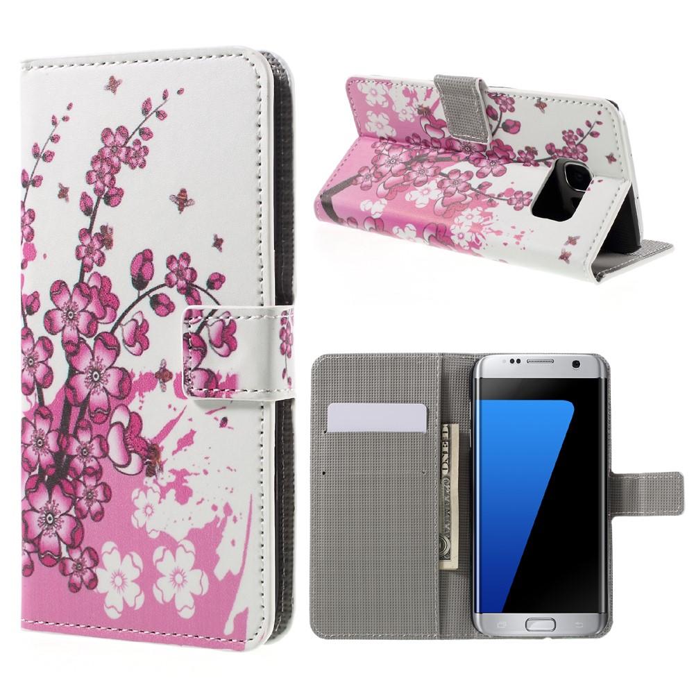 Billede af Samsung Galaxy S7 Edge PU læder FlipCover m. Kortholder - Plum Blossom