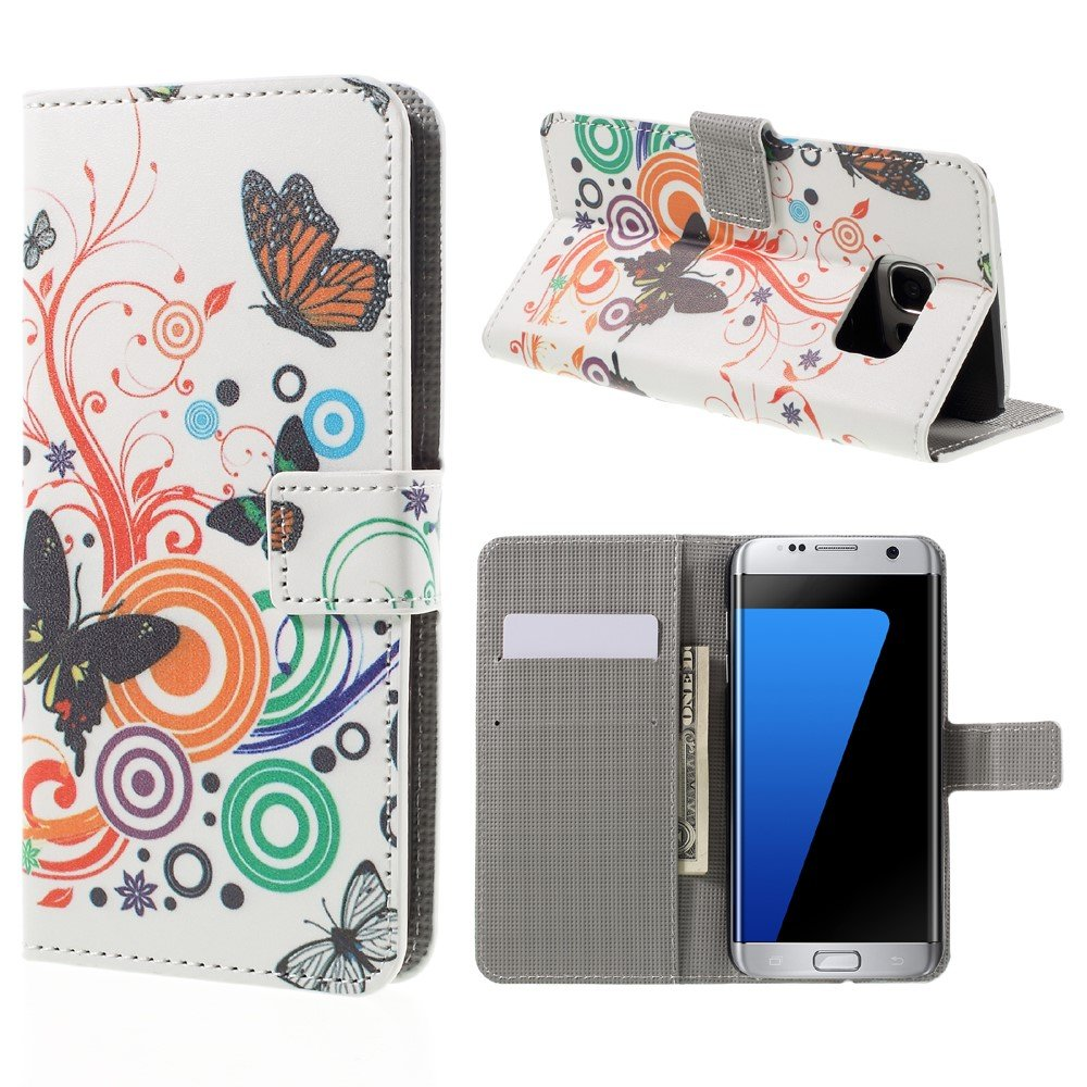 Billede af Samsung Galaxy S7 Edge PU læder FlipCover m. Kortholder - Butterflies and Circles