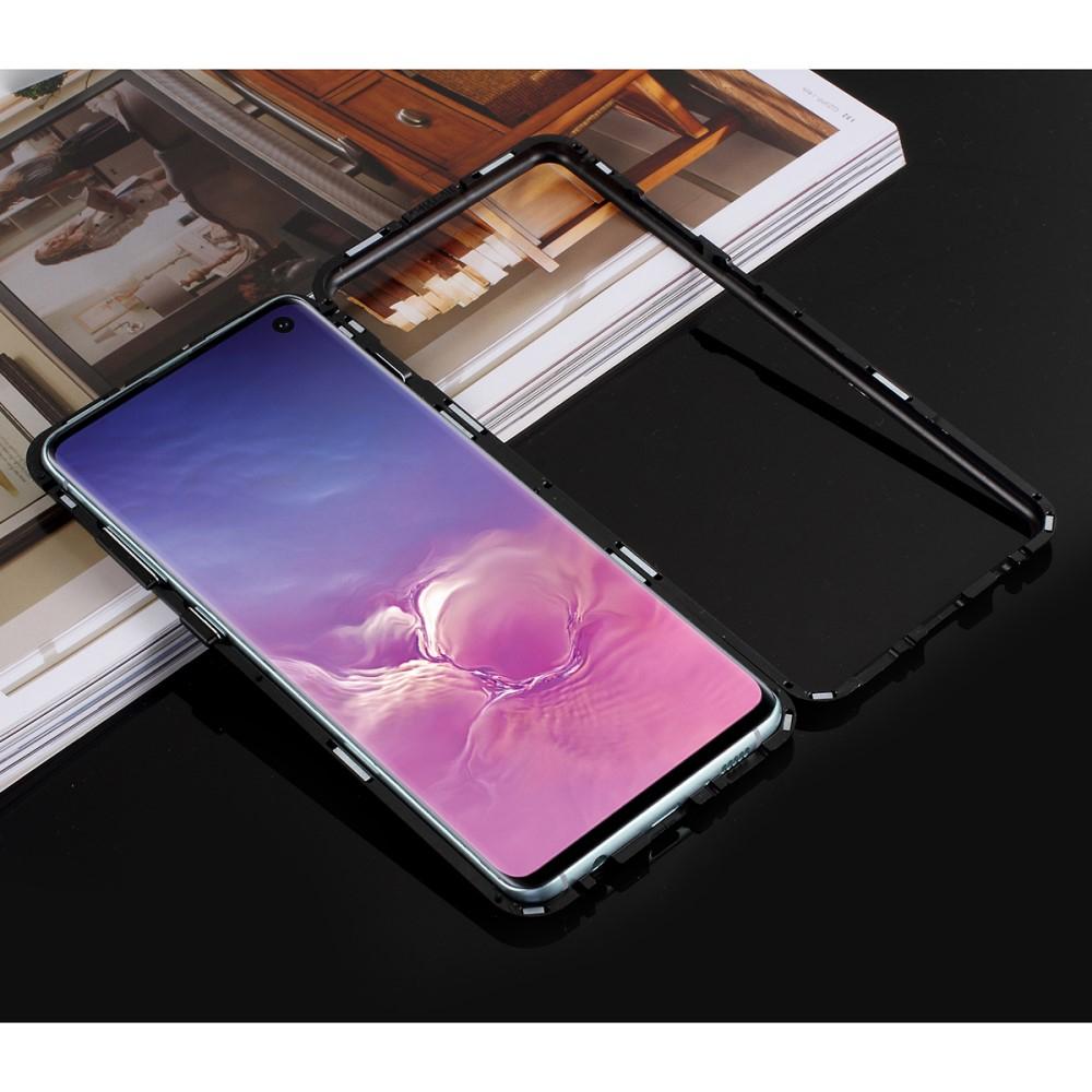 Image of   Samsung Galaxy S10 Magnetisk Metalramme m. Glas Bagside - Sort