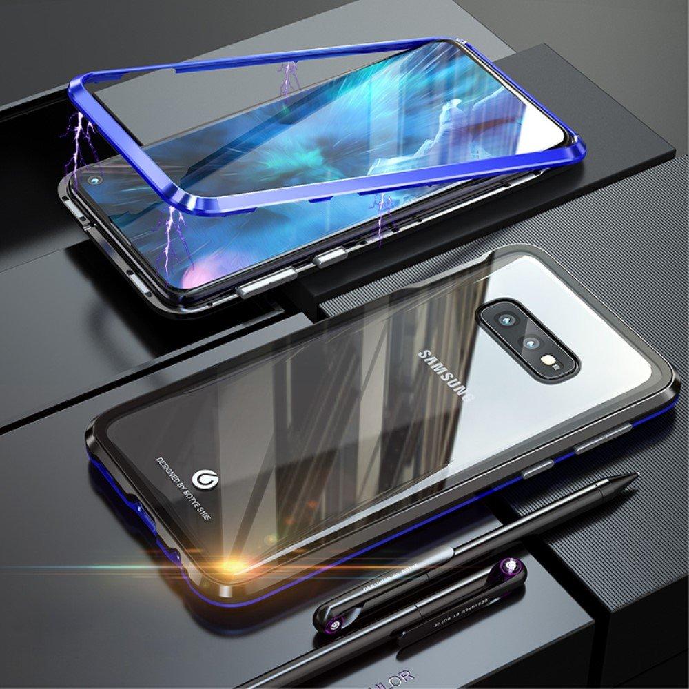 Image of   Samsung Galaxy S10e Magnetisk Metalramme m. Glas Bagside - Sort / Blå