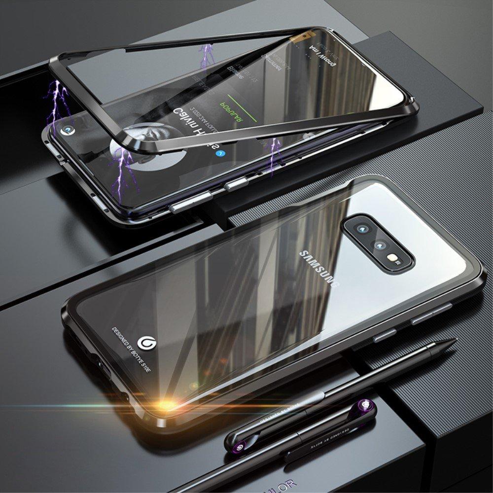 Image of   Samsung Galaxy S10e Magnetisk Metalramme m. Glas Bagside - Sort