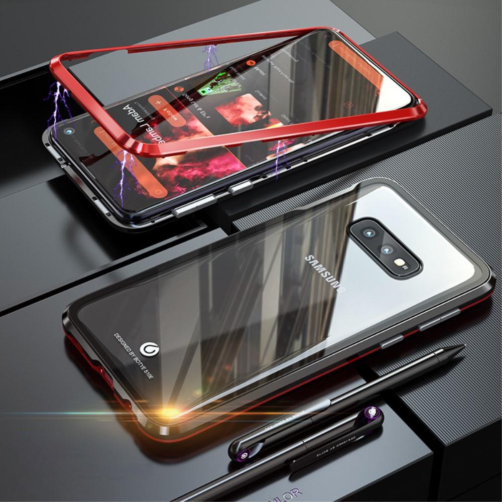 Image of   Samsung Galaxy S10e Magnetisk Metalramme m. Glas Bagside - Sort / Rød