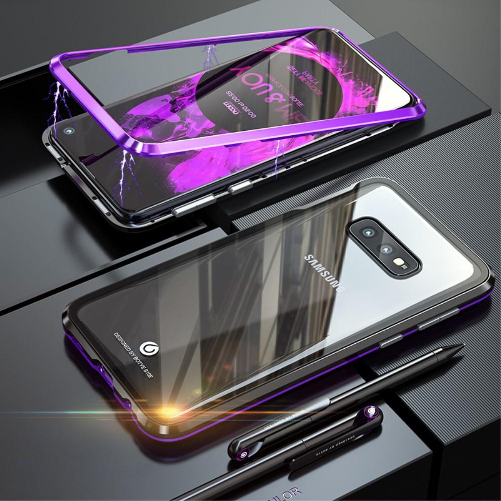 Image of   Samsung Galaxy S10e Magnetisk Metalramme m. Glas Bagside - Sort / Lilla