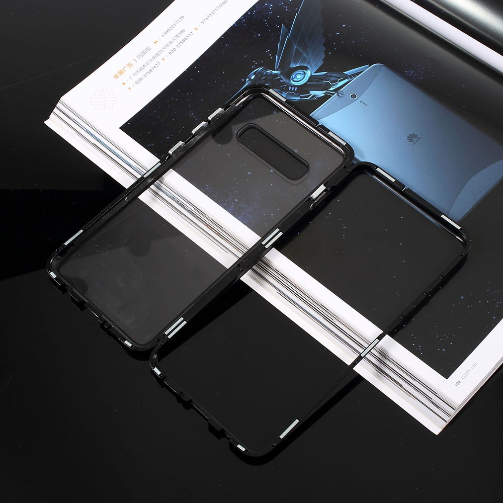 Image of   Samsung Galaxy S10+ Plus Magnetisk Metalramme m. Glas Bagside - Sort