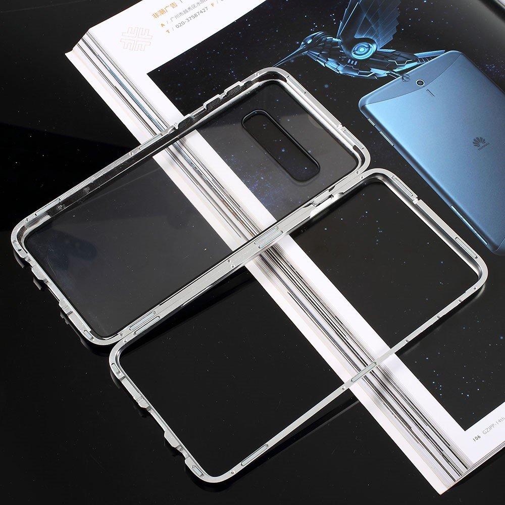 Image of   Samsung Galaxy S10+ Plus Magnetisk Metalramme m. Glas Bagside - Sølv