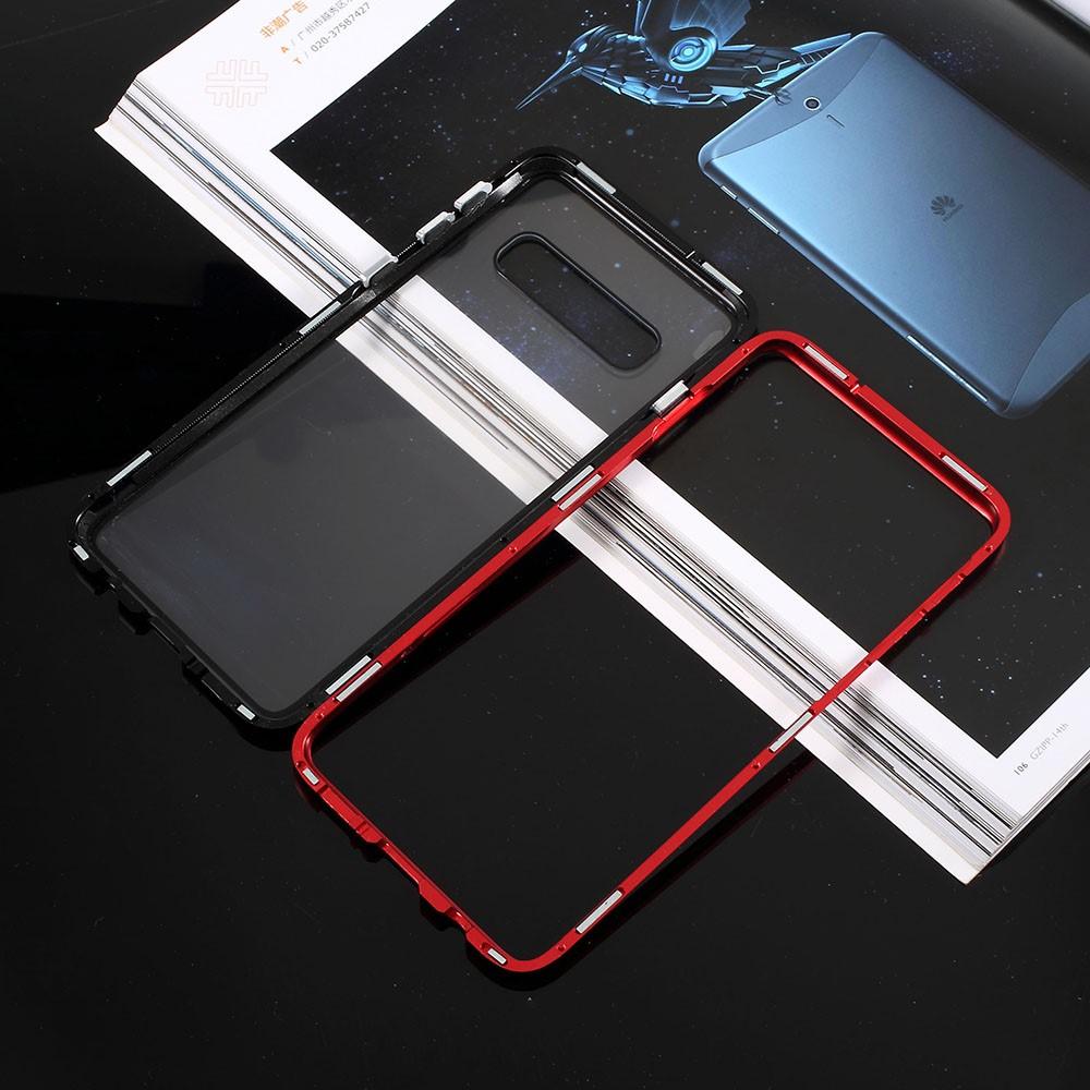 Image of   Samsung Galaxy S10+ Plus Magnetisk Metalramme m. Glas Bagside - Rød / Sort