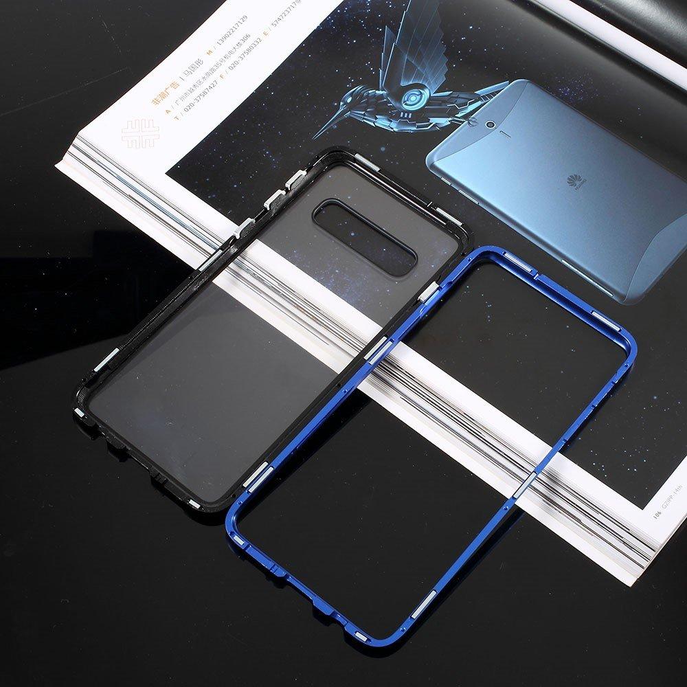 Image of   Samsung Galaxy S10+ Plus Magnetisk Metalramme m. Glas Bagside - Blå / Sort