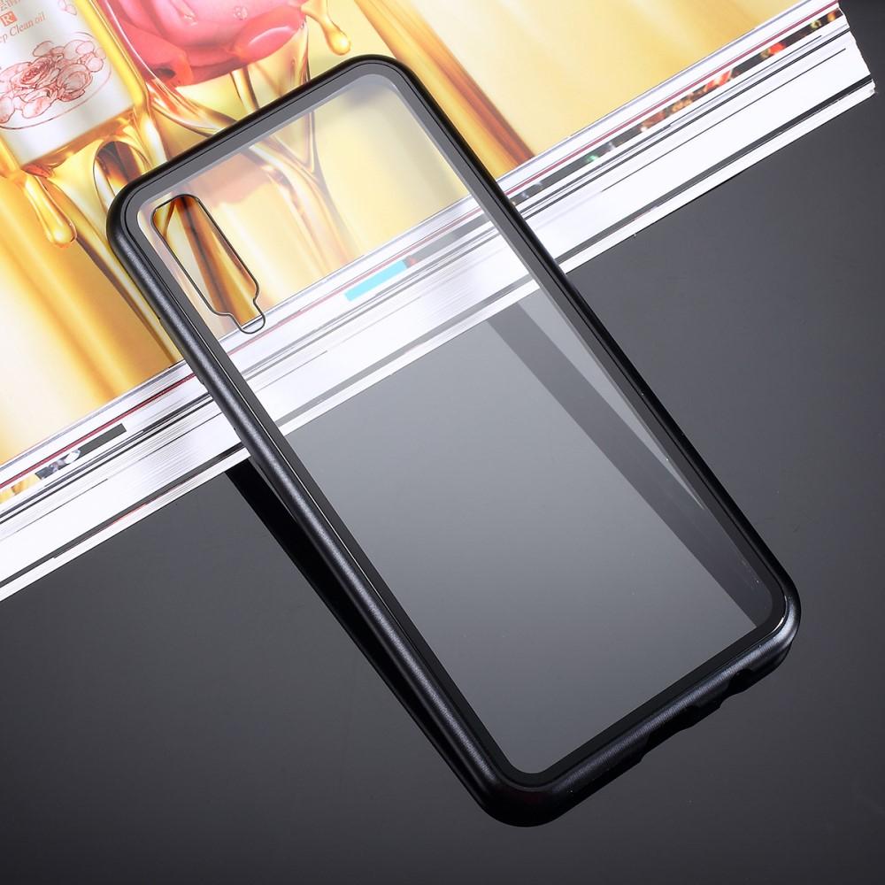 Image of   Samsung Galaxy A30s / A50 Magnetisk Metalramme m. Glas Bagside - Sort