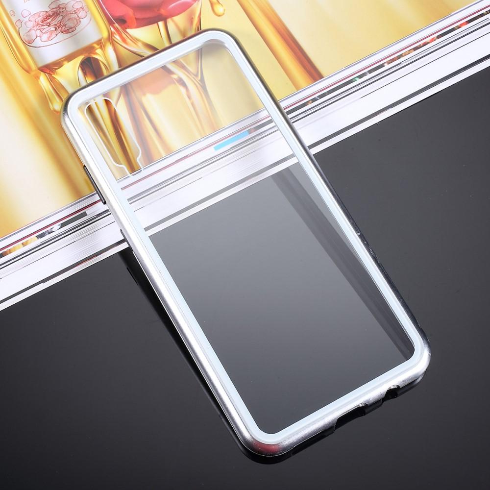 Image of   Samsung Galaxy A30s / A50 Magnetisk Metalramme m. Glas Bagside - Sølv