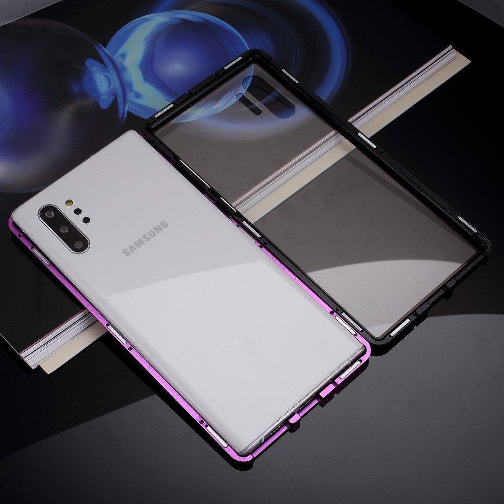 Image of   Samsung Galaxy Note 10+ (Plus) Magnetisk Metalramme m. Glas Bagside - Sort/Lilla