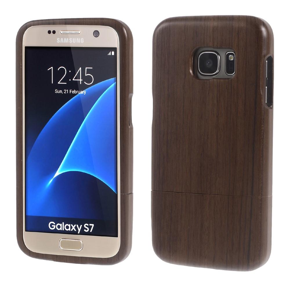 Image of Samsung Galaxy S7 InCover Træ Cover - Mørk brun