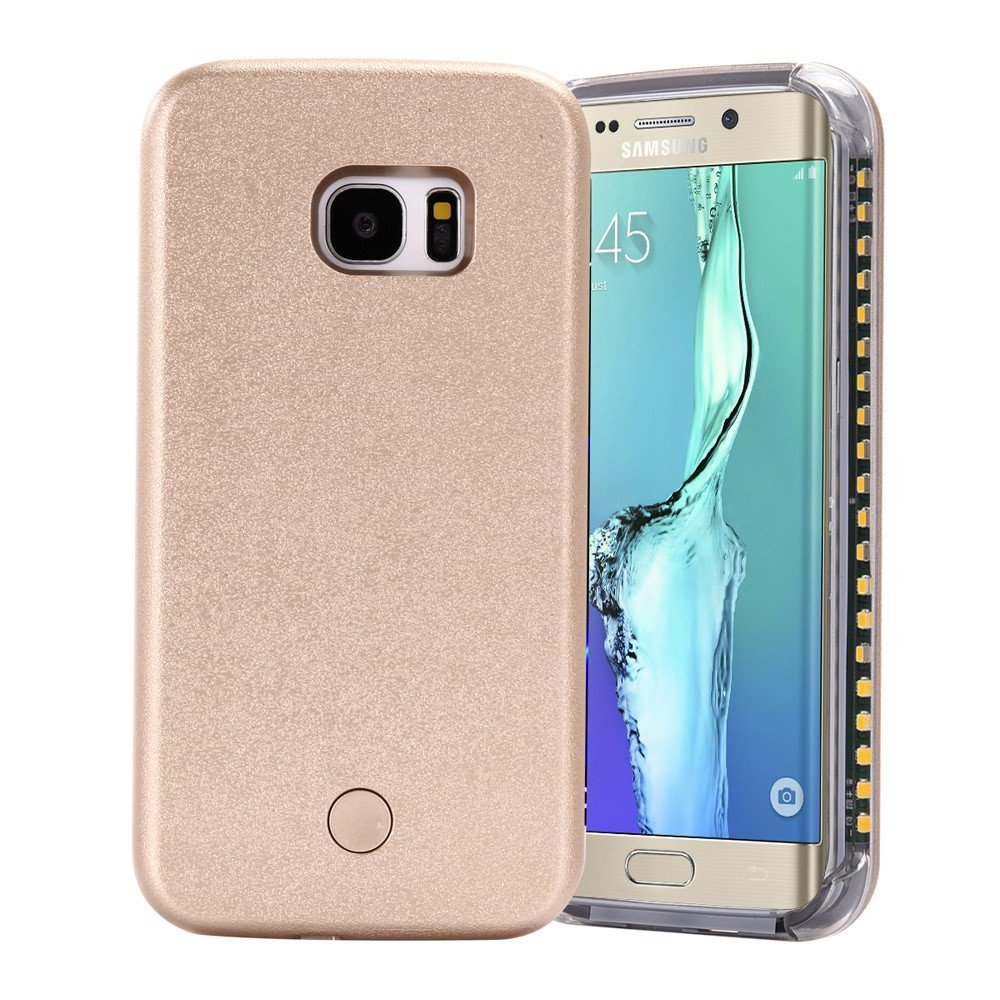 Image of Samsung Galaxy S6 Edge Selfie Cover m. Lys - Guld