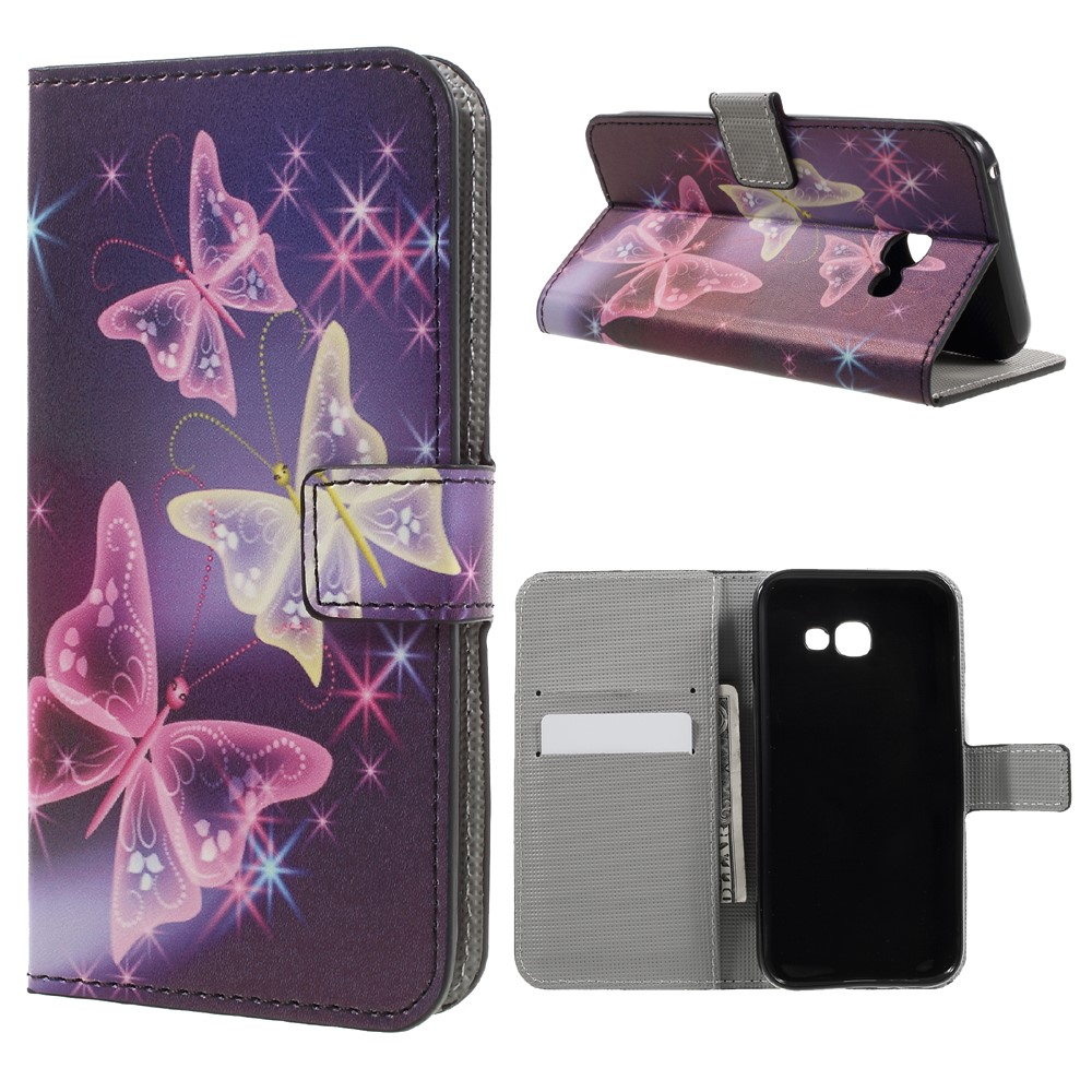Image of   Samsung Galaxy A3 (2017) PU læder FlipCover m. Kortholder - Colorful Butterflies