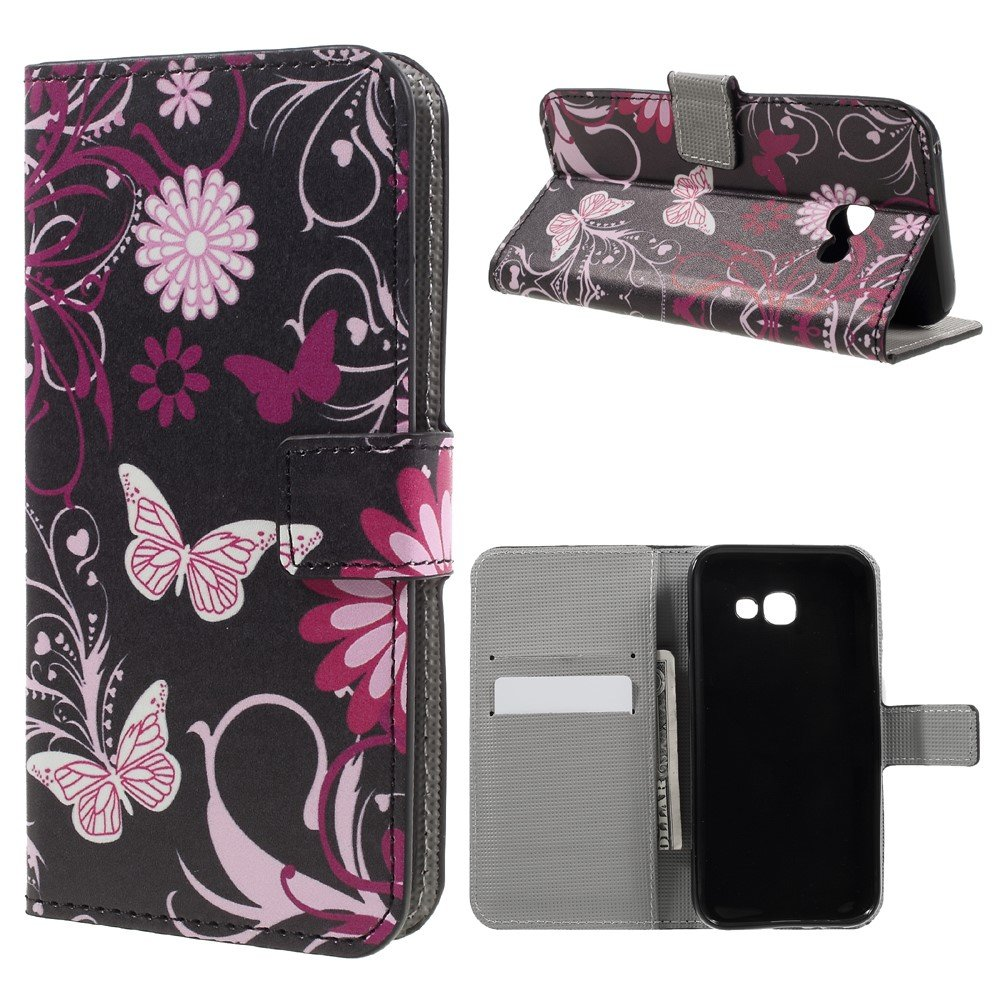 Image of   Samsung Galaxy A3 (2017) PU læder FlipCover m. Kortholder - Butterfly and Flowers
