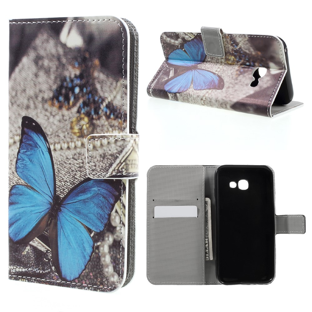 Image of   Samsung Galaxy A3 (2017) PU læder FlipCover m. Kortholder - Blue Butterfly