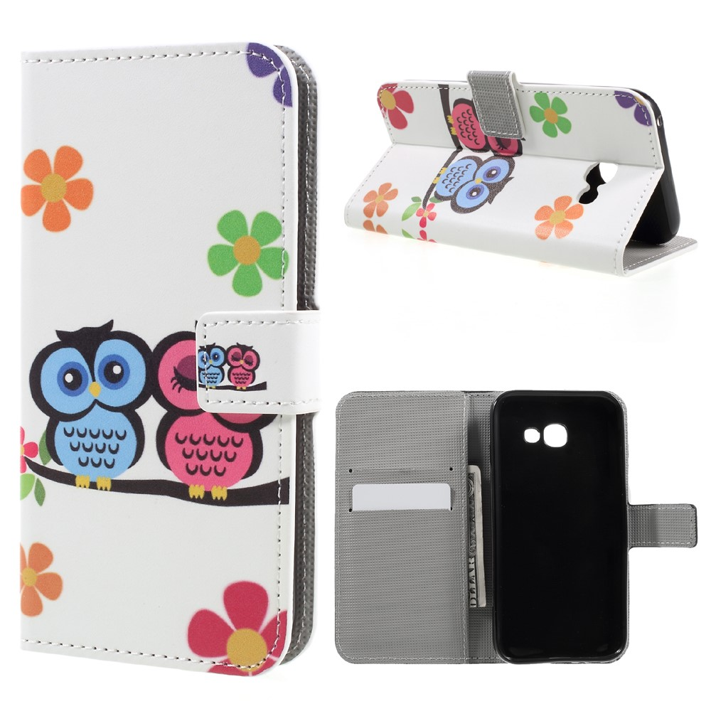 Image of   Samsung Galaxy A3 (2017) PU læder FlipCover m. Kortholder - Owls and Flower