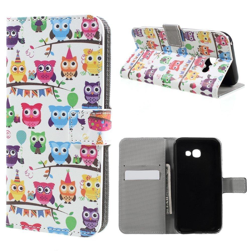 Image of   Samsung Galaxy A5 (2017) PU læder FlipCover m. Kortholder - Colorful Owls