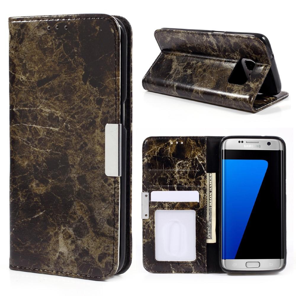 56a98e07d5b2 Samsung Galaxy S7 Edge PU Læder FlipCover m. Stand - Sort Marmor