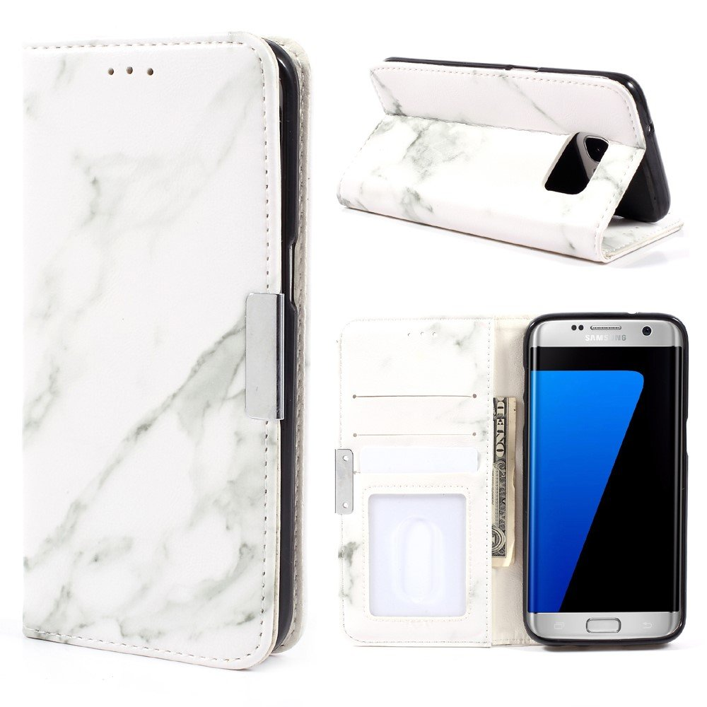 Image of Samsung Galaxy S7 Edge PU Læder FlipCover m. Stand - Grå Marmor