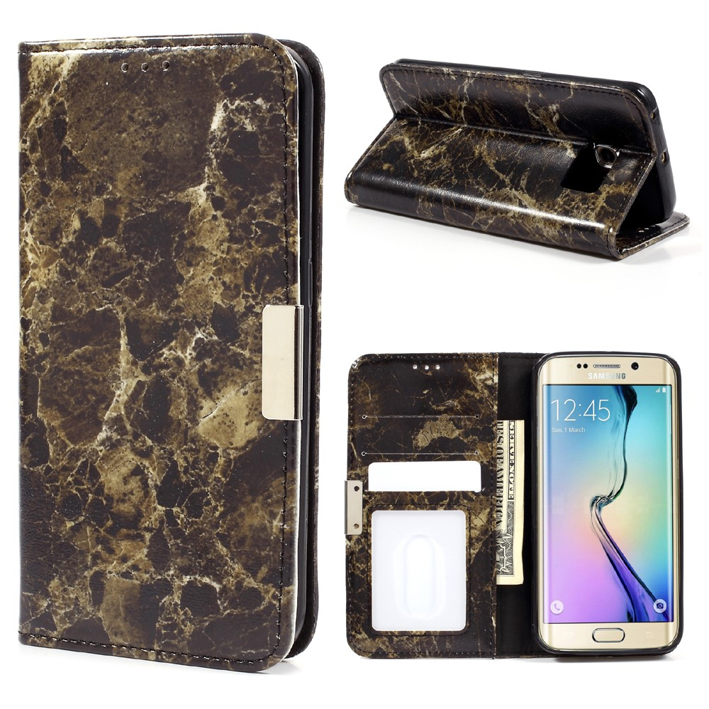 Image of Samsung Galaxy S6 Edge PU Læder FlipCover m. Stand - Sort Marmor