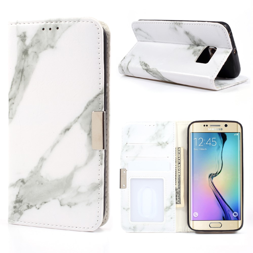 Image of Samsung Galaxy S6 Edge PU Læder FlipCover m. Stand - Grå Marmor
