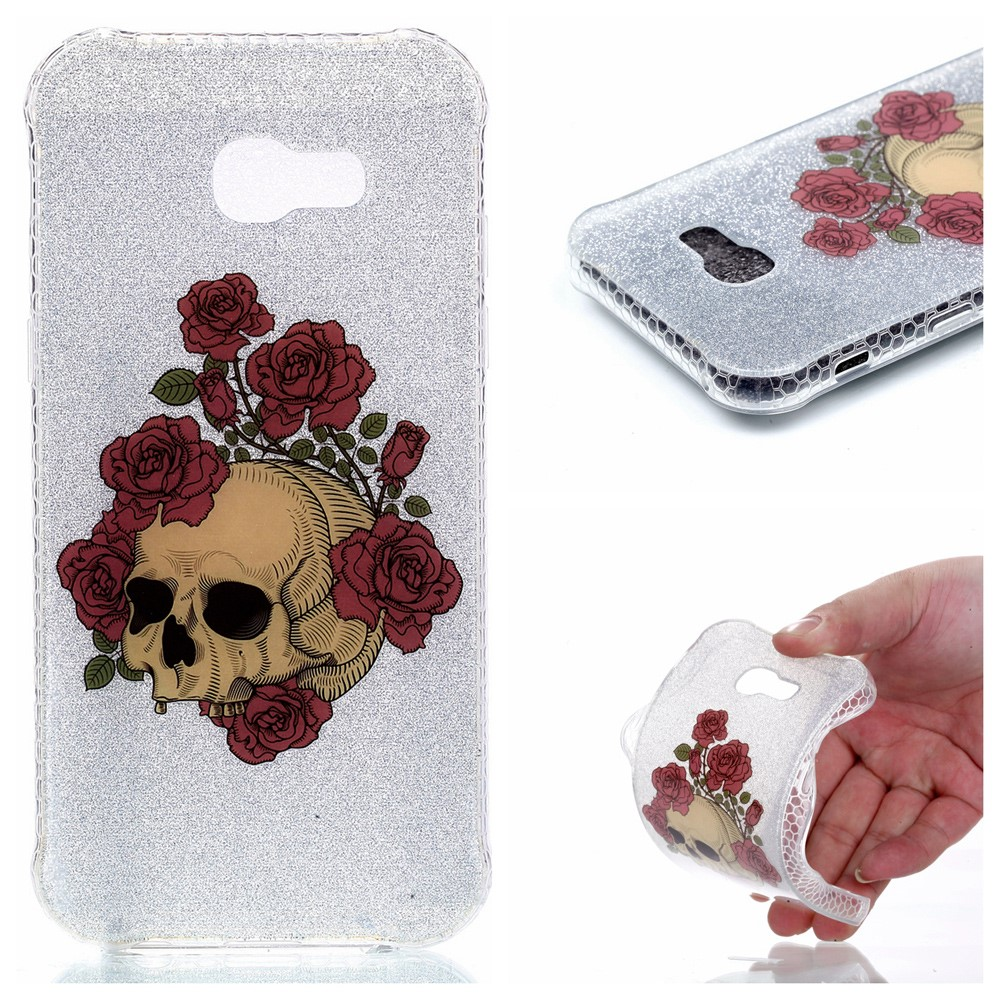 Image of   Samsung Galaxy A5 (2017) InCover Glossy TPU Cover - Skull and Flower