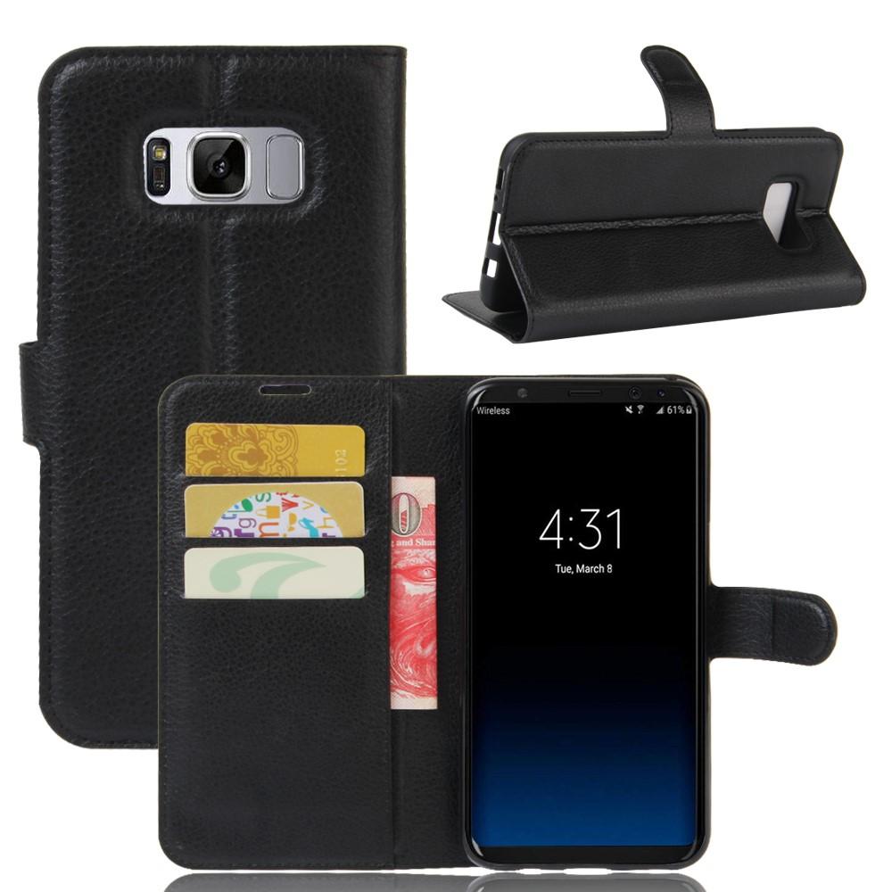 Image of   Samsung Galaxy S8 Plus PU Læder Flipcover m. Kortholder - Sort
