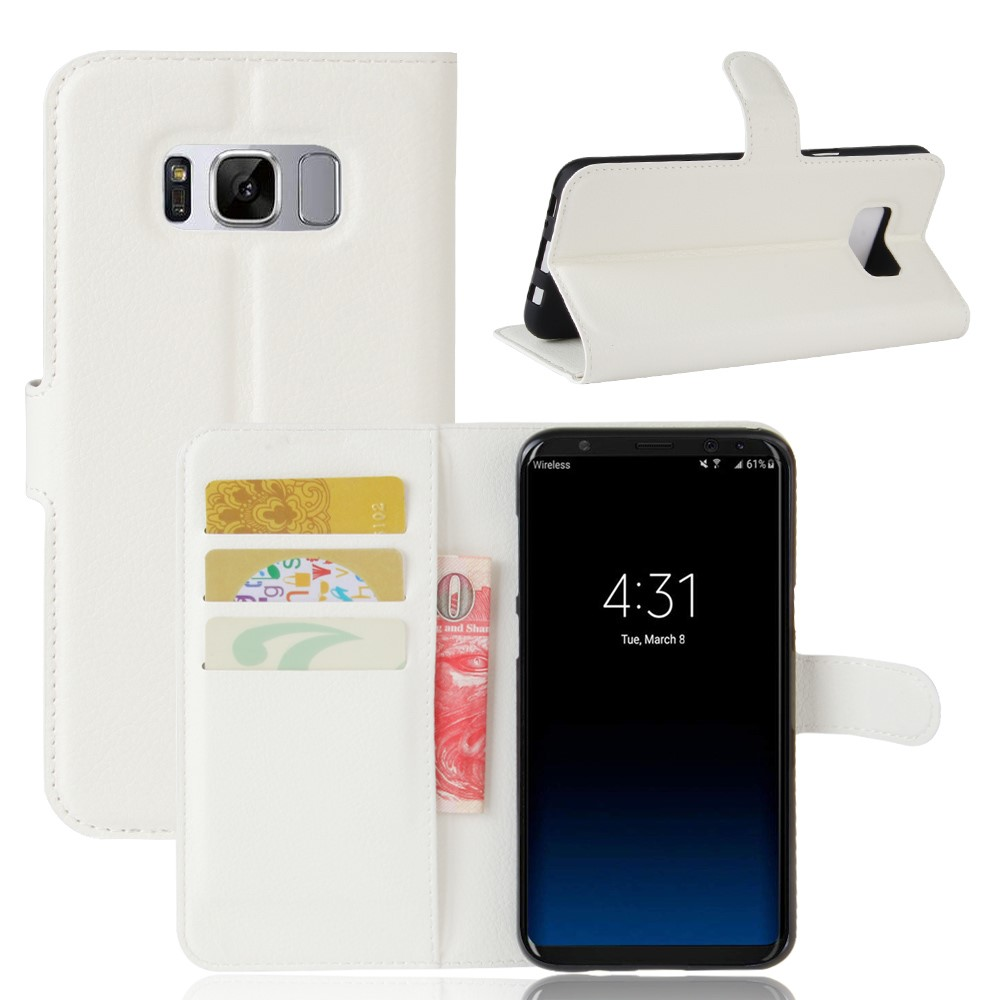 Image of   Samsung Galaxy S8 Plus PU Læder Flipcover m. Kortholder - Hvid