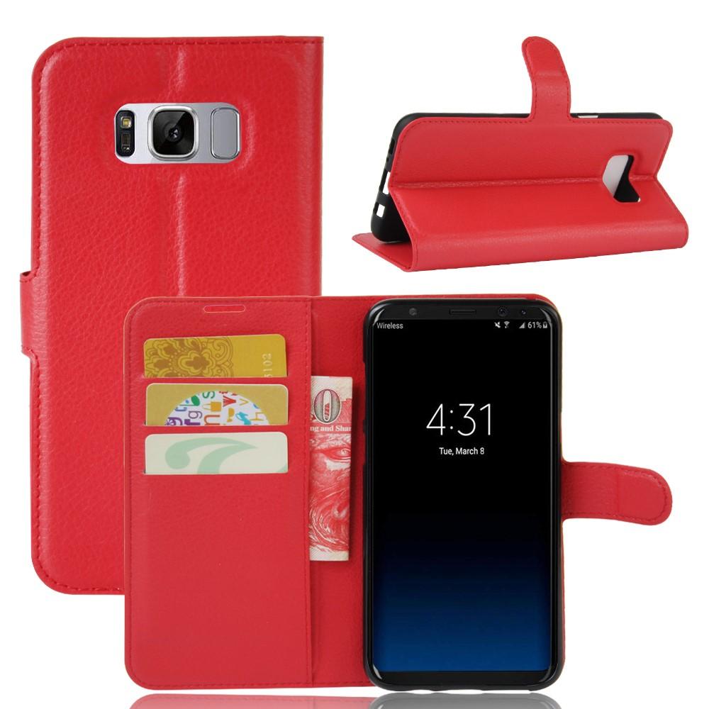 Image of   Samsung Galaxy S8 Plus PU Læder Flipcover m. Kortholder - Rød