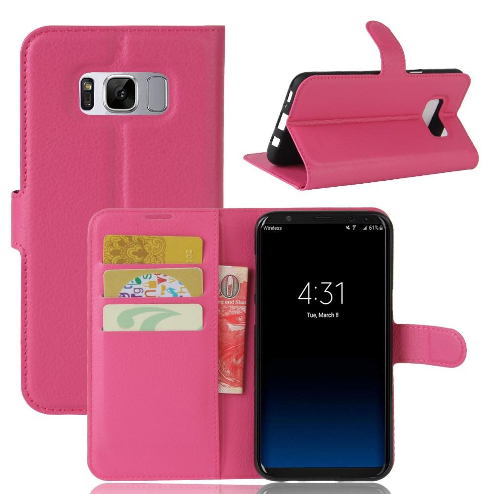 Image of   Samsung Galaxy S8 Plus PU Læder Flipcover m. Kortholder - Rosa