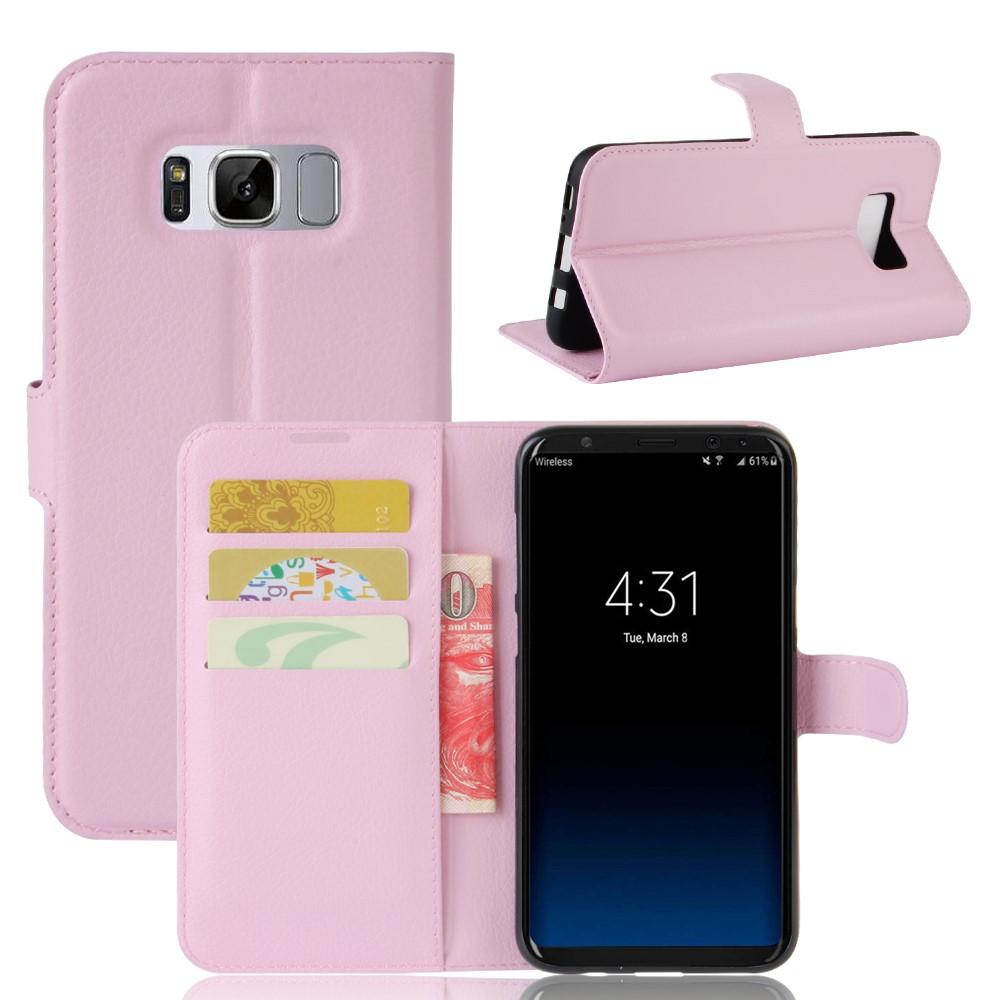 Image of   Samsung Galaxy S8 Plus PU Læder Flipcover m. Kortholder - Lyserød