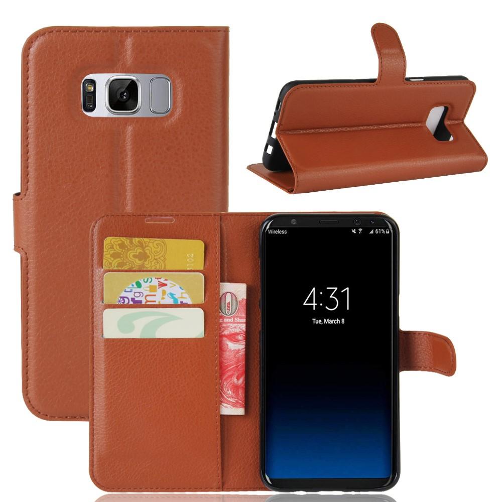 Image of   Samsung Galaxy S8 Plus PU Læder Flipcover m. Kortholder - Brun