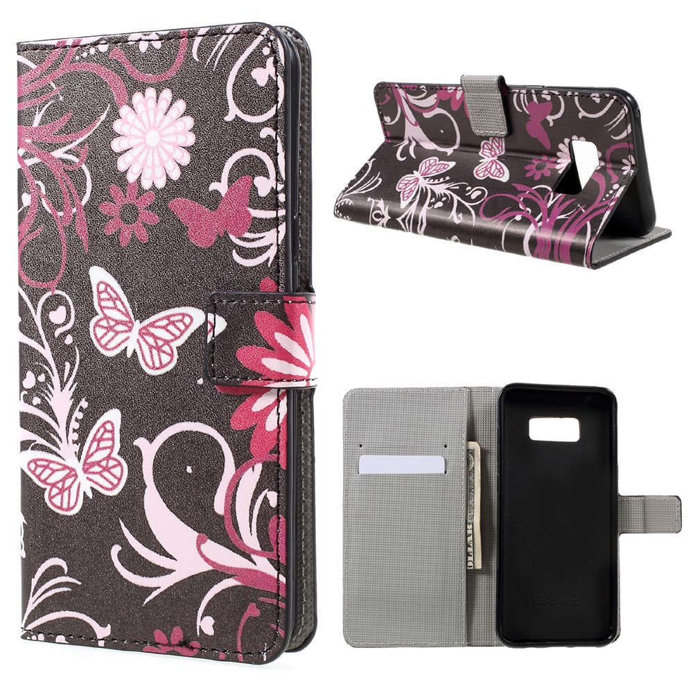 Image of   Samsung Galaxy S8 Plus PU Læder Flipcover m. Kortholder - Floral Butterfly