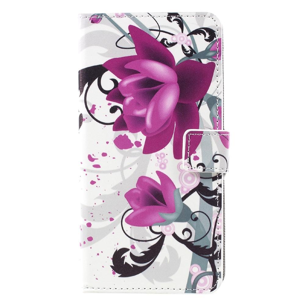 Image of   Samsung Galaxy S8 Plus PU Læder Flipcover m. Kortholder - Purple Flowers