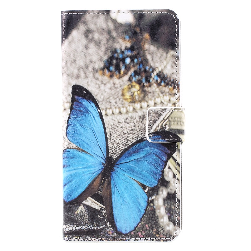Image of   Samsung Galaxy S8 Plus PU Læder Flipcover m. Kortholder - Blue Butterfly
