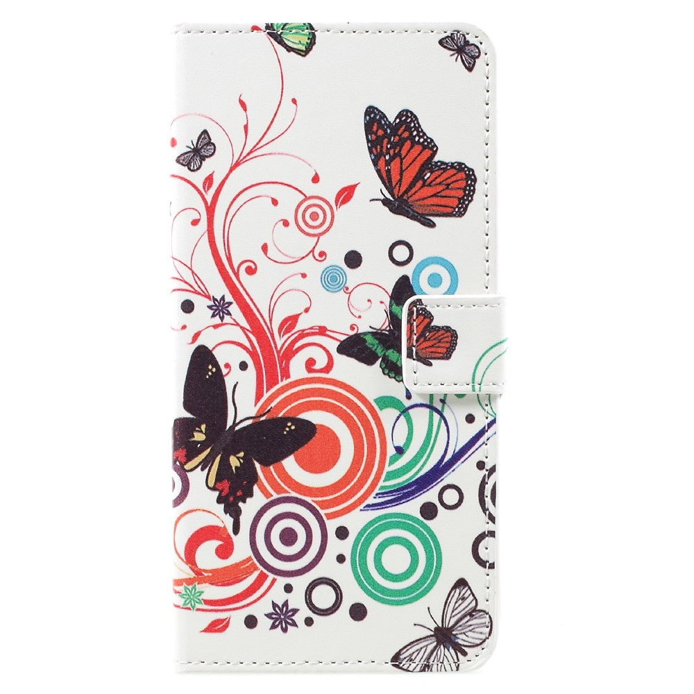 Image of   Samsung Galaxy S8 Plus PU Læder Flipcover m. Kortholder - Butterflies and Circles