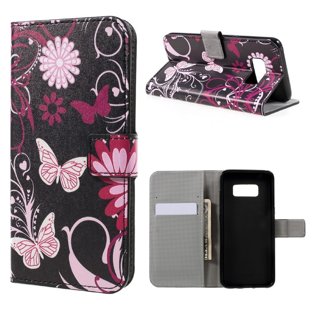 Image of   Samsung Galaxy S8 PU læder Flipcover m. Kortholder - Floral Butterfly