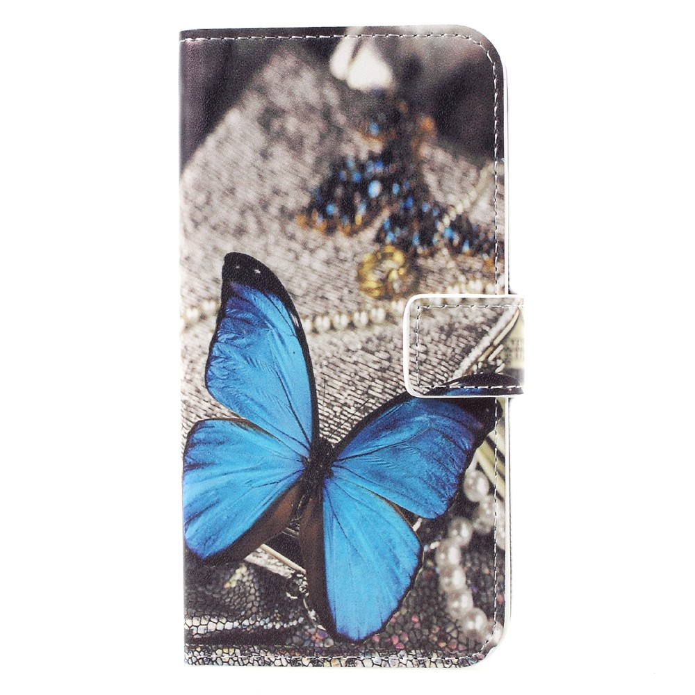 Image of   Samsung Galaxy S8 PU læder Flipcover m. Kortholder - Blue Butterfly