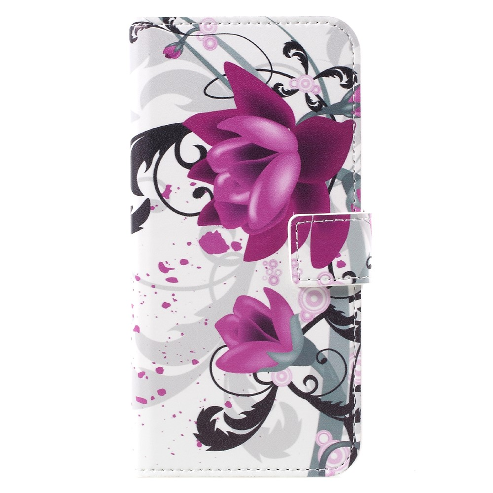 Image of   Samsung Galaxy S8 PU læder Flipcover m. Kortholder - Purple Flowers
