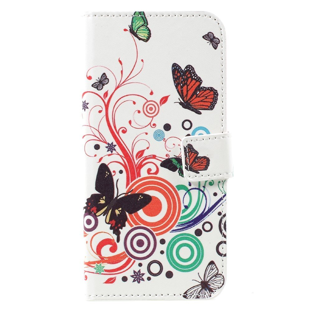 Image of   Samsung Galaxy S8 PU læder Flipcover m. Kortholder - Butterflies and Circles