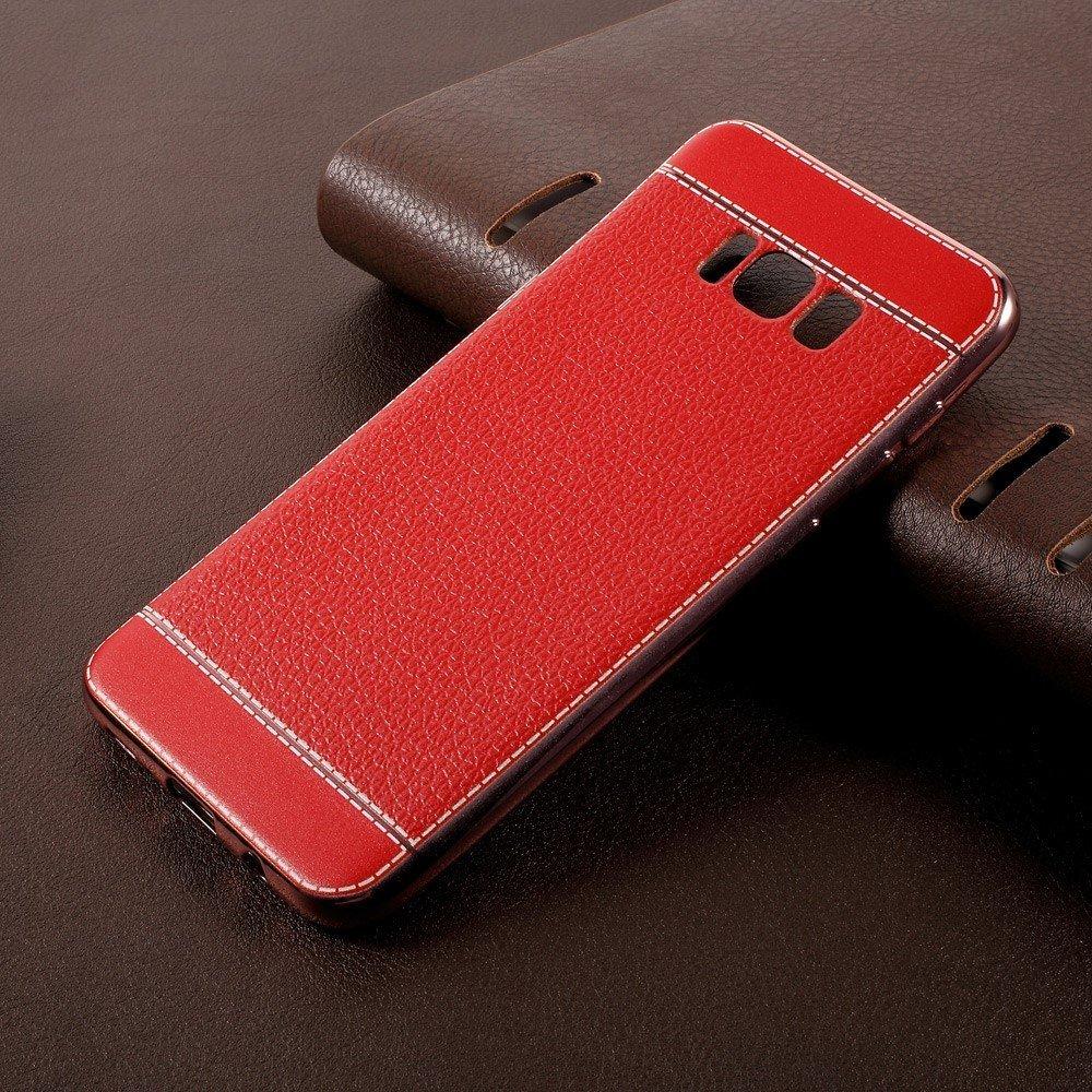 Image of   Samsung Galaxy S8 Plus TPU Cover m. PU læder - Rød