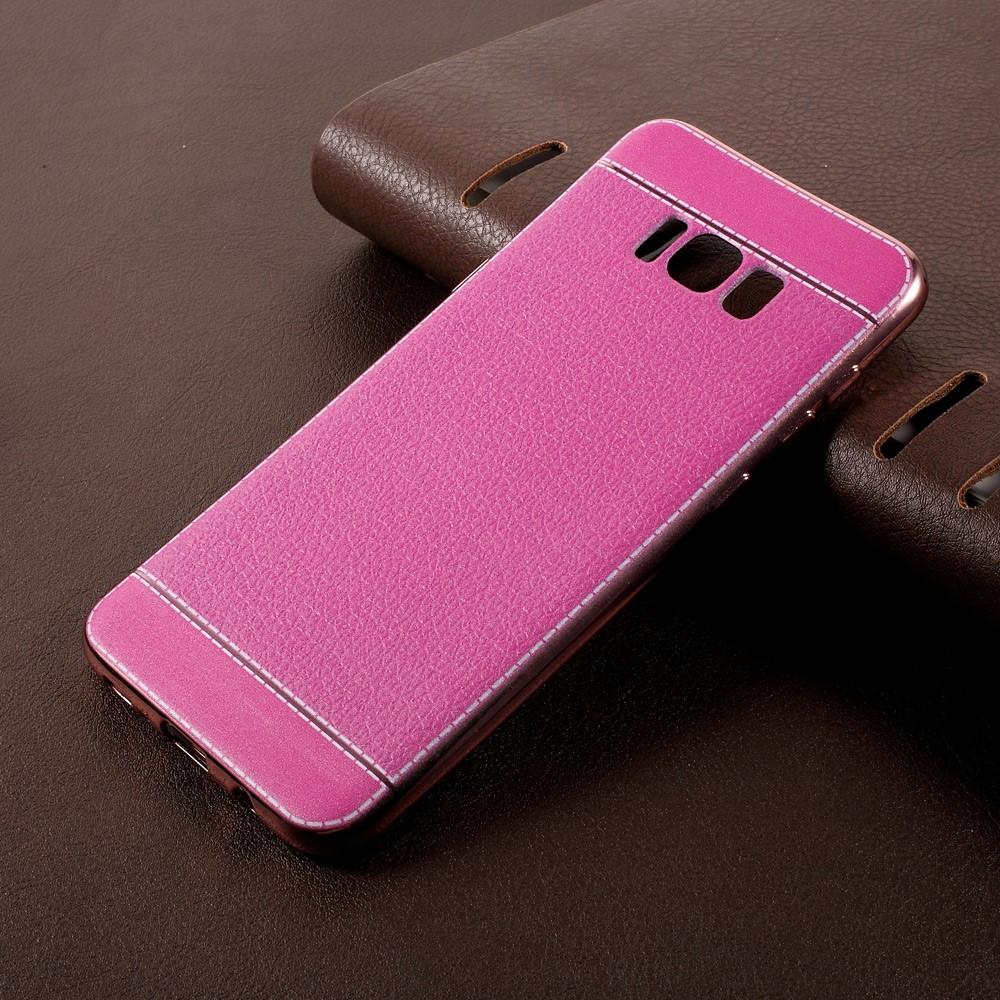 Image of   Samsung Galaxy S8 Plus TPU Cover m. PU læder - Rosa